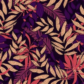 Abstrata sem costura padrão com vegetação tropical