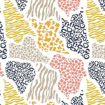 Abstrata sem costura padrão geométrico com animal print.