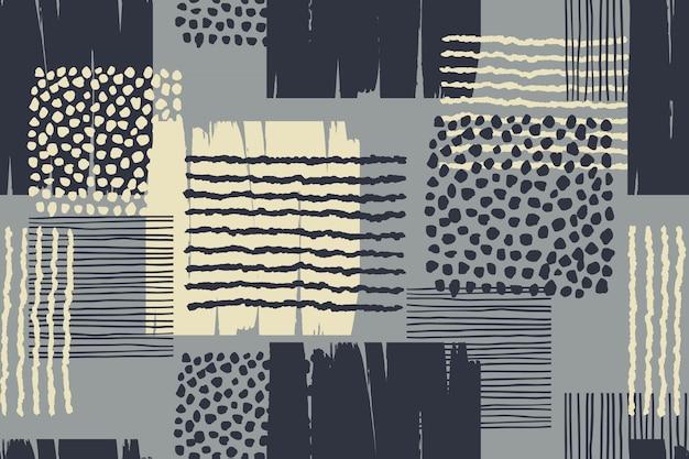 Abstrata sem costura padrão geométrico com texturas da mão desenhada.