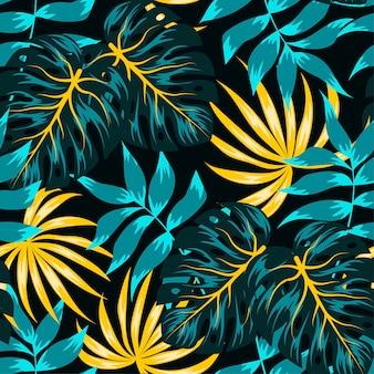 Abstrata sem costura padrão tropical com folhas e plantas