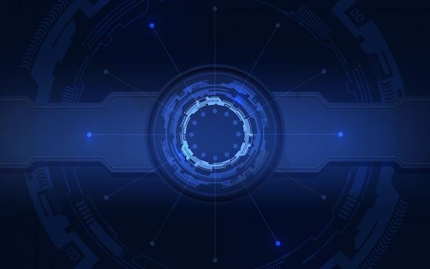 Abstrata tecnologia futura com fundo azul.