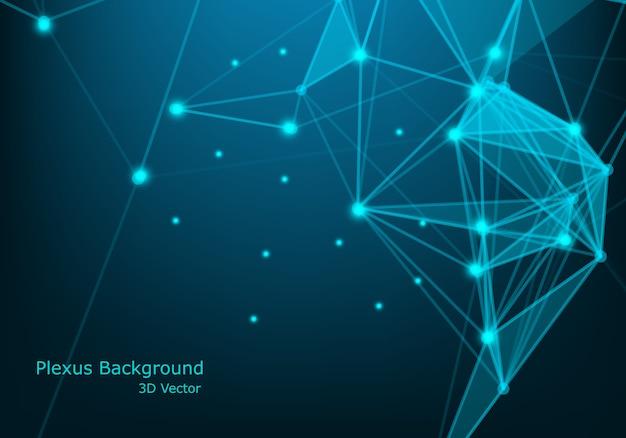 Abstrata tecnologia futurista de moléculas com formas lineares e poligonais em fundo azul escuro.