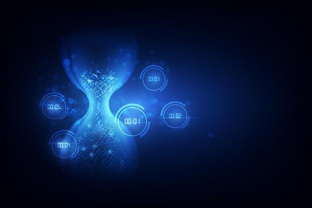 Abstrata tecnologia futurista fundo ampulheta com conceito de temporizador de número digital e contagem regressiva