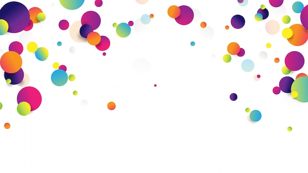 Abstratas bolas caindo coloridas sobre fundo branco