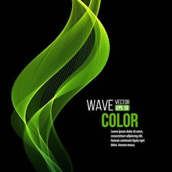 Abstratas transparentes ondas verdes fundo preto
