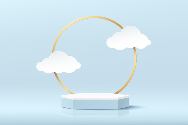 Abstrato 3d branco hexágono pedestal pódio com cena azul anel dourado e estilo de corte de papel nuvem
