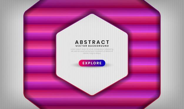 Abstrato 3d camada de sobreposição de fundo branco com formas de gradiente coloridas geométricas com mistura de cores rosa e roxa