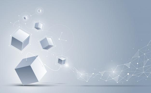 Abstrato 3d cubos fundo, fundo de ciência e tecnologia,