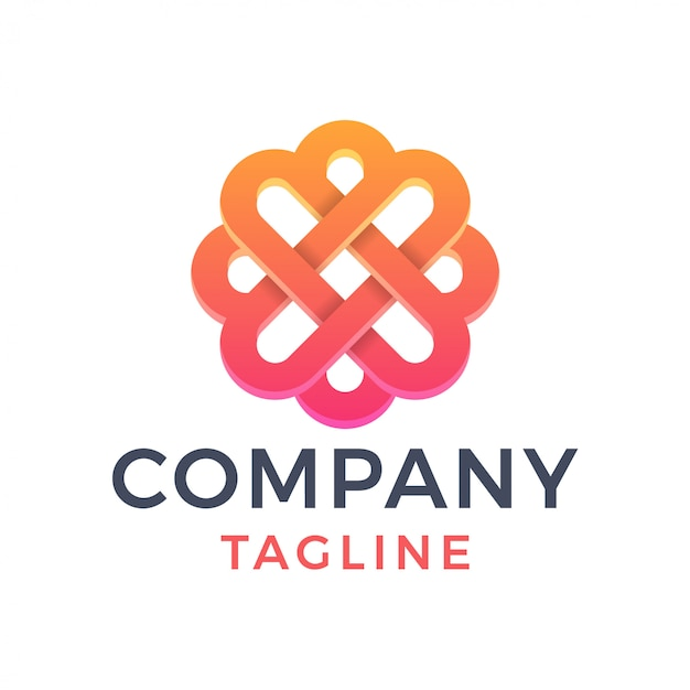 Abstrato 3d elegante flor letra x monoline gradiente logotipo