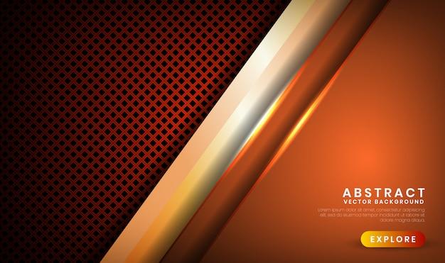 Abstrato 3d fundo marrom escuro luxo com rhomb metálico, camada de sobreposição com decoração efeito de luz laranja