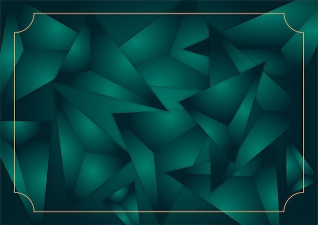 Abstrato 3d triângulo luxuoso fundo verde escuro e dourado. elemento de design gráfico