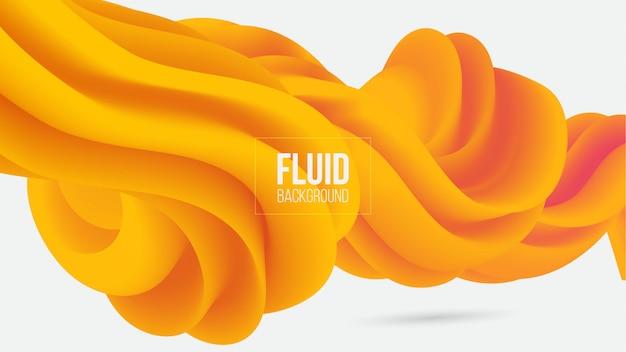 Abstrato amarelo 3d forma fluida fundo