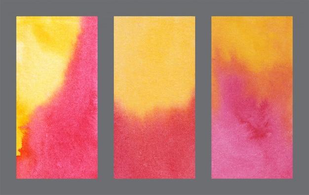Abstrato amarelo e vermelho banner fundo aquarela