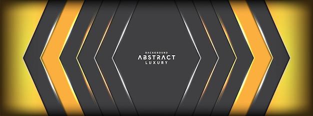 Abstrato amarelo sobre fundo futurista banner cinza sobreposição metálica