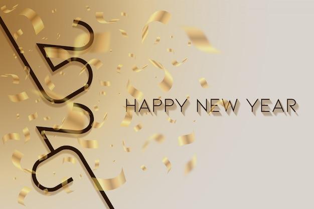 Abstrato ano novo ouro e branco