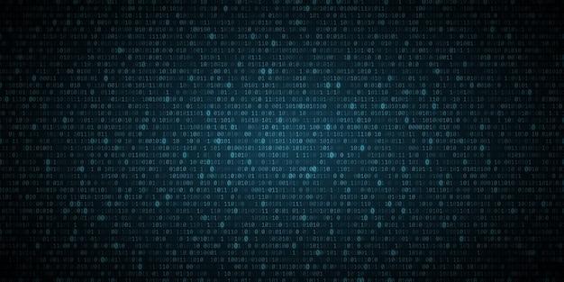 Abstrato azul brilhante fundo de código de programação binário. dados digitais. conceito de alta tecnologia.