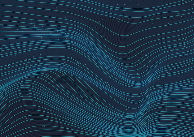Abstrato azul brilhante onda linhas padrão com elementos de partículas em fundo escuro.