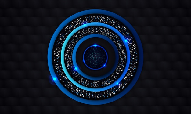 Abstrato azul círculo com brilho fundo preto escuro