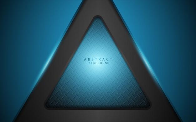 Abstrato azul claro sobre fundo escuro de formas de metal