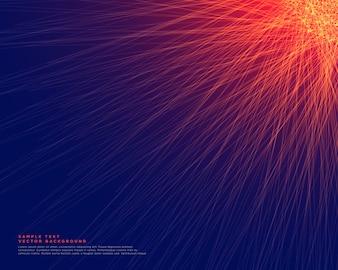Abstrato azul com linhas vermelhas brilhantes
