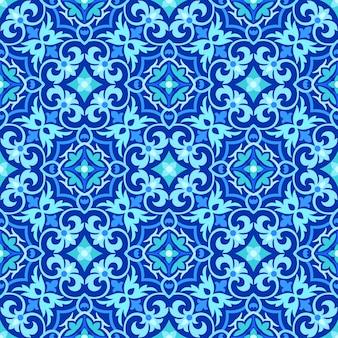 Abstrato azul e branco sem costura padrão ornamental.