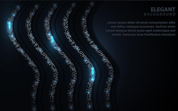 Abstrato azul escuro com decoração de brilhos