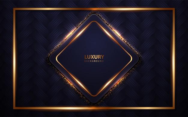 Abstrato azul escuro luxo moldura com luz dourada