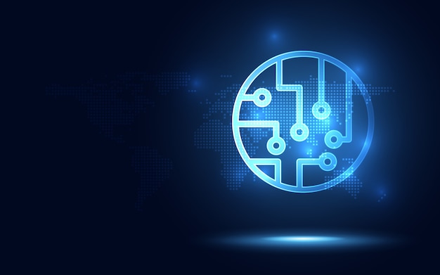 Abstrato azul futurista brilhante sistema de circuito de néon tecnologia fundo