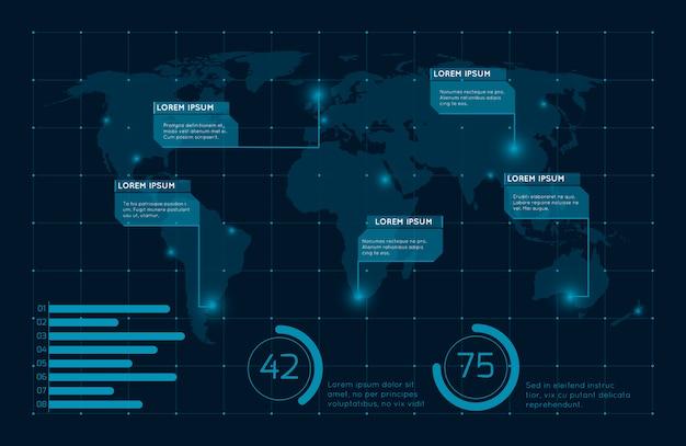 Abstrato azul infográfico ilustração de mapa do mundo