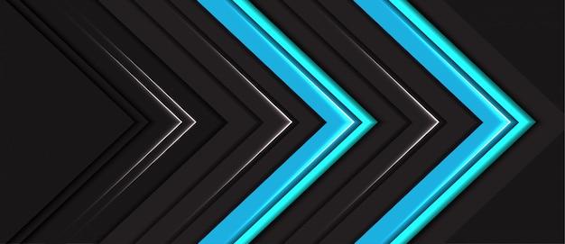 Abstrato azul luz neon seta direção fundo cinza escuro