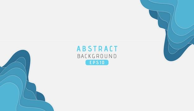 Abstrato azul mar forma ondulada fundo com estilo de corte de papel