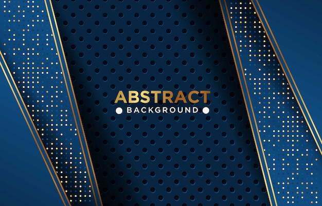 Abstrato azul marinho luxo sobreposição de fundo com combinação de malha circrle e pontos dourados brilhantes eps