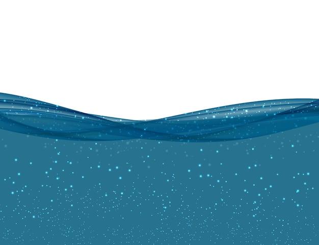 Abstrato azul onda subaquática do oceano em fundo transparente. ilustração vetorial