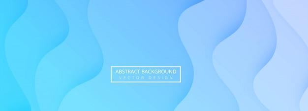 Abstrato azul papercut onda modelo banner design