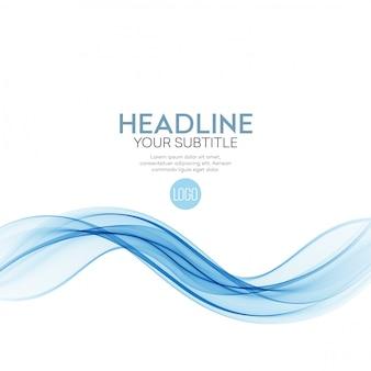 Abstrato, azul transparente acenou linhas para brochura, site, design de folheto