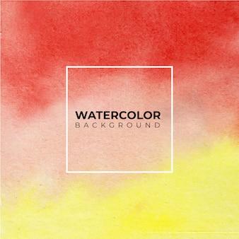 Abstrato base aquarela pintado de vermelho e amarelo no papel