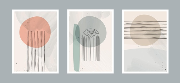 Abstrato base de artes contemporâneas com formas geométricas de equilíbrio, arco-íris e sol para a parede.