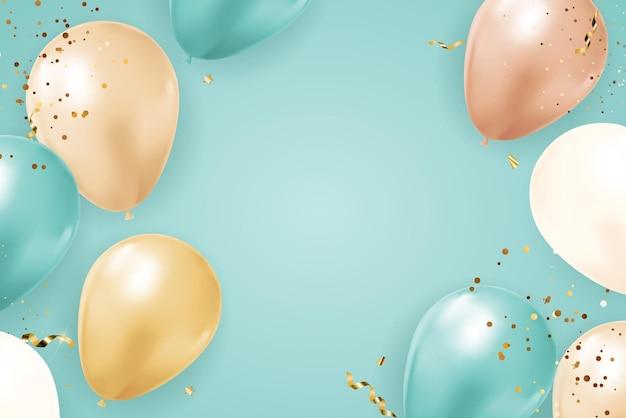 Abstrato base de férias de festa com balões, fita e confetes.