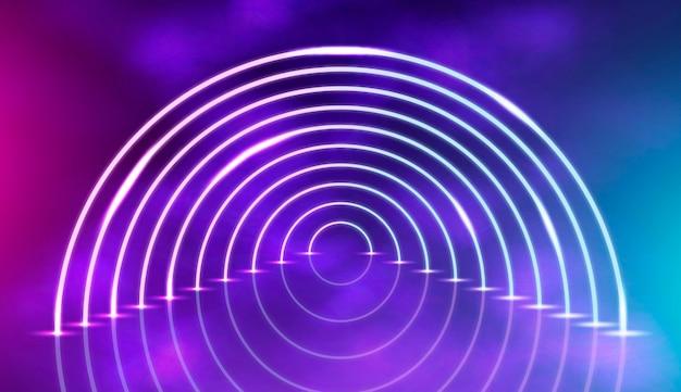 Abstrato base de luzes de néon com semicírculo