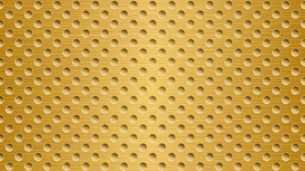 Abstrato base de metal com orifícios em cores douradas brilhantes