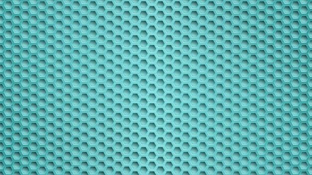 Abstrato base de metal com orifícios hexagonais em tons de azul claro