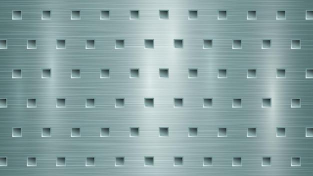 Abstrato base de metal com orifícios quadrados em tons de azul claro
