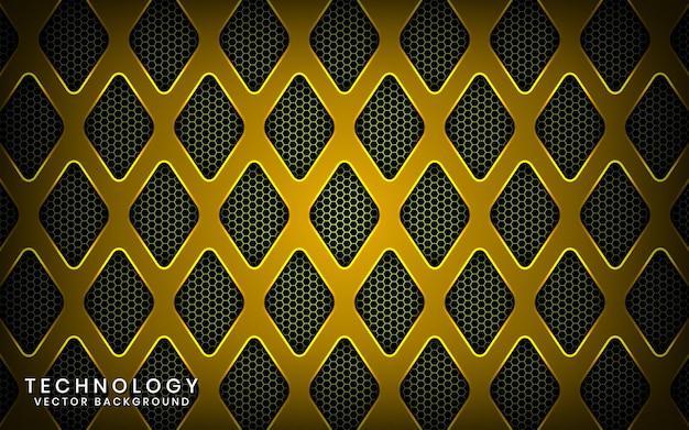 Abstrato base de tecnologia amarelo 3d com efeito brilhante, sobreposição de camadas no espaço escuro com losango metálico