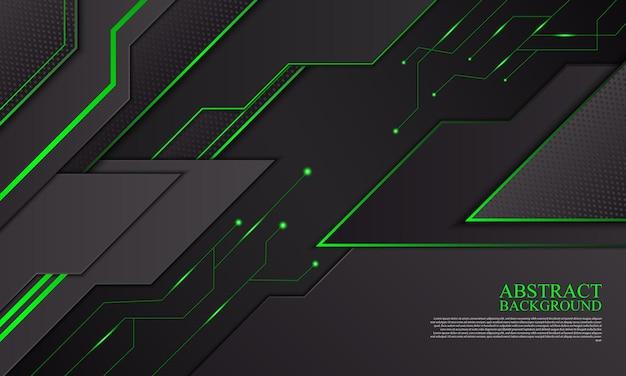 Abstrato base de tecnologia com listras de néon preto e verde.