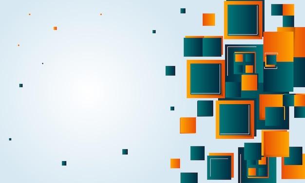 Abstrato base de tecnologia de retângulos verdes e laranja. padrão para anúncios, cartazes, banners.