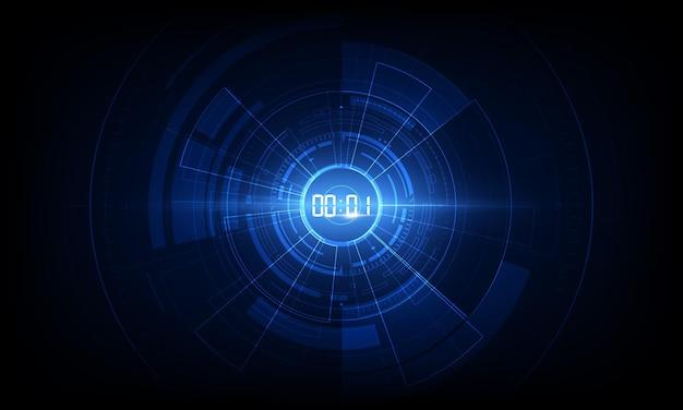 Abstrato base de tecnologia futurista com conceito de cronômetro digital e contagem regressiva.
