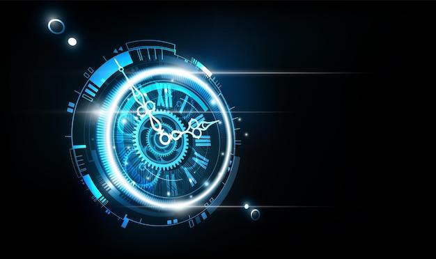 Abstrato base de tecnologia futurista com conceito de relógio e vista em perspectiva da máquina do tempo