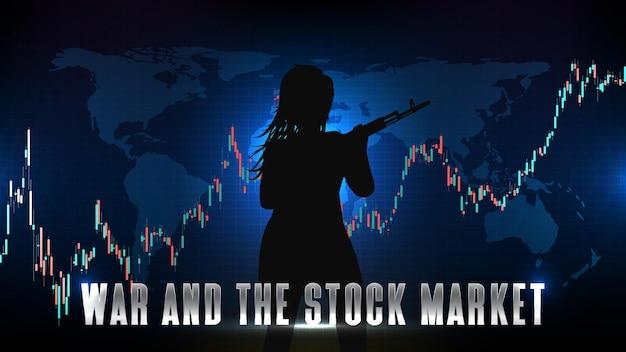 Abstrato base de tecnologia futurista de gráfico do mercado de ações e mulher com arma ak 47