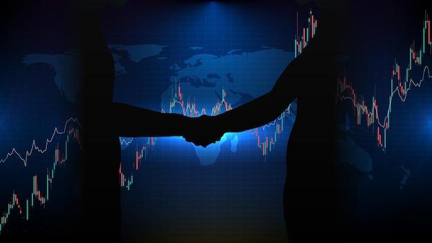 Abstrato base de tecnologia futurista do mercado de ações de negócios de aperto de mão de acordo