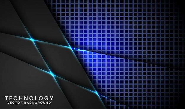 Abstrato base de tecnologia preto 3d com quadrado aleatório texturizado, sobreposição de camadas com decoração efeito de luz azul